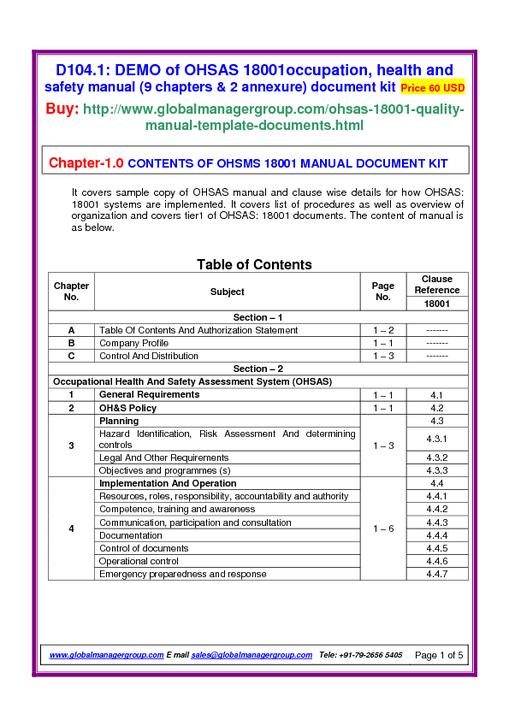 ohsas 18001 manual rh app looplogic com ISO 18001 PDF OHSAS 18001 2007 PDF