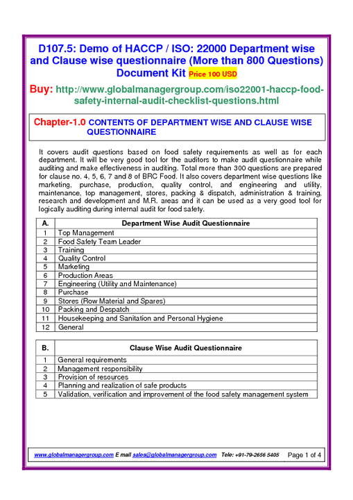 ISO 22000 Audit Checklist